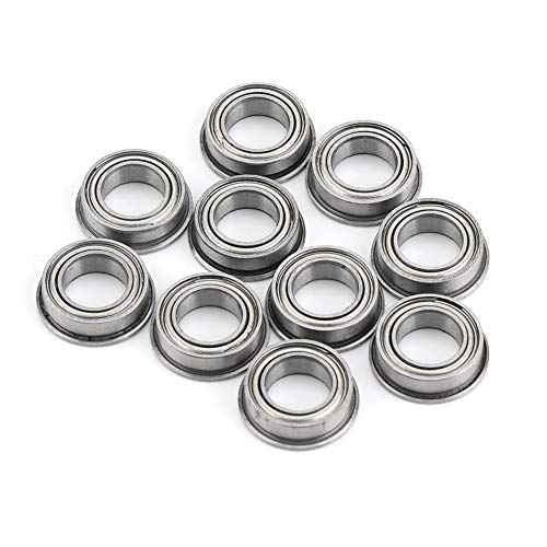 Flanged Ball Bearings, 10Pcs MF106ZZ Stainless Steel Mini Metal Shielded Flanged Ball Bearings -