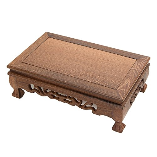 (LuoLuo Chinese Display Stand Wooden Rectangle Shape Tiger Feet Carved Solid Rosewood JiChi Wood Display Base Holder For Arts Antique Etc, Home Decoration (L 30cm18cm10cm))