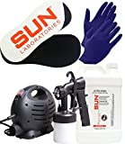 Sun Laboratories Sunless Spray Tan Machine - At Home Airbrush Tanning System with Dark - Spray Tan Solution, Gloves + Sticky Pads for Feet - Natural Sunless Airbrush HPLV, Body and Face for Bronzing