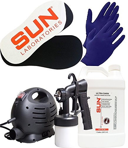 Sun Laboratories Sunless Spray Tan Machine - At Home Airbrush Tanning System with Dark - Spray Tan Solution, Gloves + Sticky Pads for Feet - Natural Sunless Airbrush HPLV, Body and Face for Bronzing ()