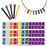 Waloden 480 Pieces cable labels Waterproof Self Adhesive Cable Label Tear Resistant Stickers and 12 Pieces Reusable Hook and Loop Cord Straps, 8 Colors