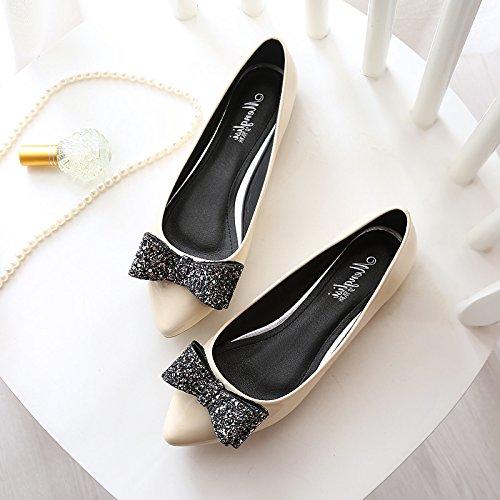 &huo Zapatos de los zapatos del solo, zapatos bajos planos de la cucharada, zapatos dulces del arco 38