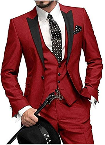 (One Button 3 Pieces Red Wedding Suits Notch Lapel Men Suits Groom Tuxedos Red 38 chest / 32 waist)