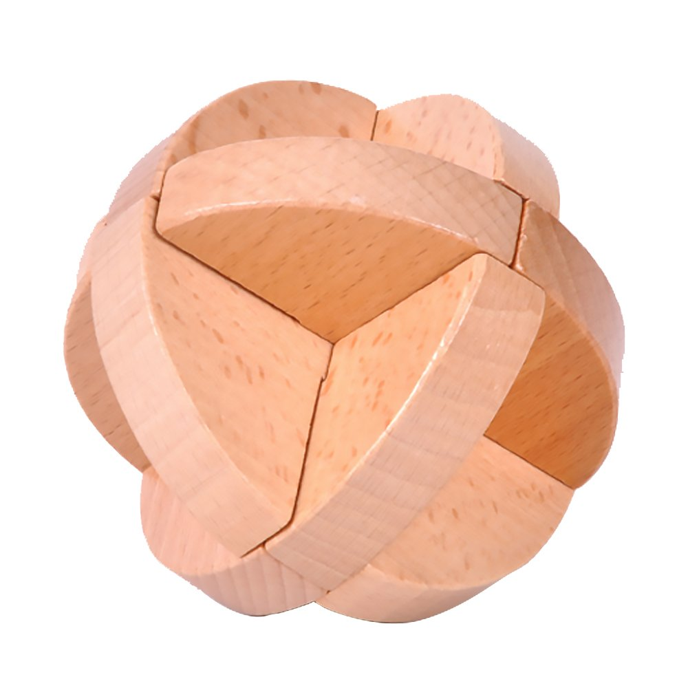 Naisidier 木製パズルゲーム Jiasaws ミステリアスキューブトイ Kongming Lock Brain Teasers IQ おもちゃギフト 子供 大人用 ボールロック   B07HF25NGW