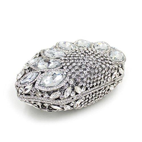 Champagne strass sac pierres secteur soirée main précieuses embrayage Argent forme à Flada mariage femme qf7YxwfH