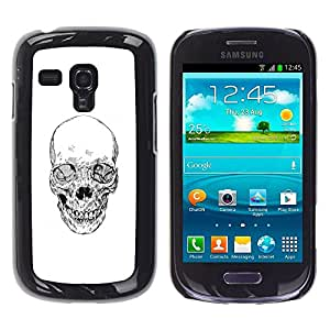 Plastic Shell Protective Case Cover    Samsung Galaxy S3 MINI NOT REGULAR! I8190 I8190N    Skull White Black Death Metal Tattoo @XPTECH