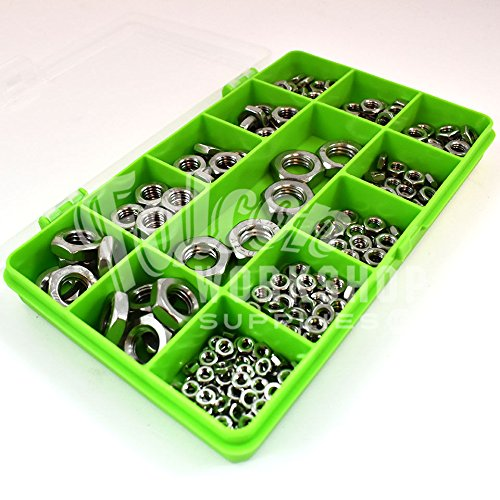 245 ASSORTED PIECE A2 STAINLESS HEXAGON HALF THIN NUT M3 M4 M5 M6 M8 M10 M12 KIT Falcon Workshop Supplies LTD