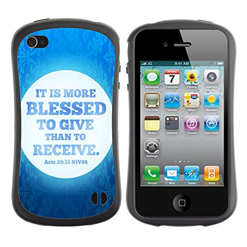 DREAMCASE Citation de Bible Silicone et Rigide Coque Protection Image Etui solide Housse T¨¦l¨¦phone Case Pour APPLE IPHONE 4 / 4S - IT IS MORE BLESSED TO GIVE THAN TO RECEIVE - ACTS 20:35