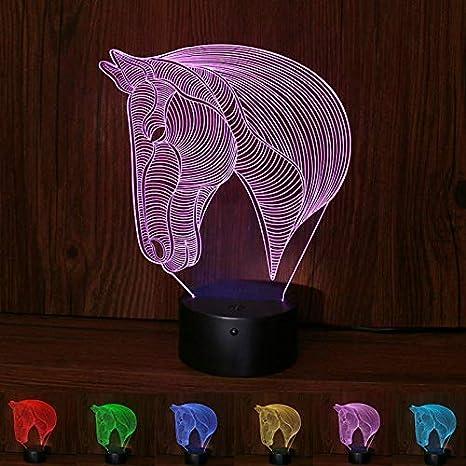 3D Ilusión óptica Lámpara LED Luz Talla unicornio de noche ...