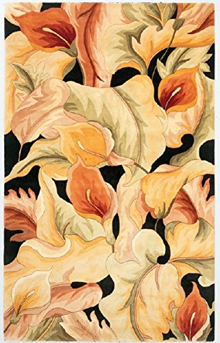 KAS Oriental Rugs Catalina Collection Calla Lilies Area Rug, 5' x 8', Black