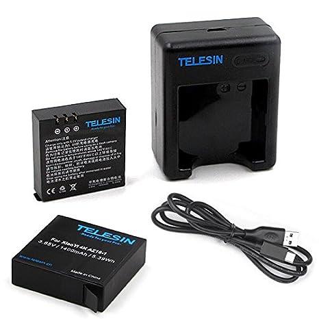TELESIN 2pcs 1400 mAh copia de seguridad Batería de iones de litio recargable con USB Dual Cargador de batería para Xiaomi Yi 4 K deporte cámara de ...