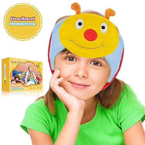 WAYCOM Kids Headphones - Headband Headphones Sleeping Eye Mask Headphones Volume Limiting Over Ear Lightweight, Perfect Children's Earphones for School, Home and Travel