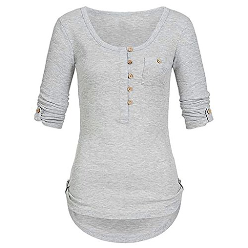 vermers Women T Shirts Clearance Sale - Ladies Fashion Solid Long Sleeve Button Blouse Pullover Tops With Pockets(L, Gray) by vermers