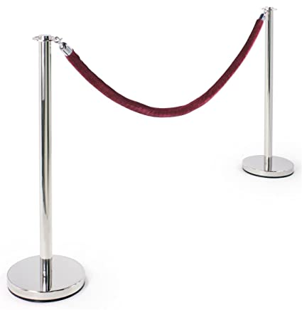 Stanchions For Sale >> Stanchion Set Two 39 Inch Polished Chrome Stanchion Posts With A 78 Inch Burgundy Velvet Rope W Polished Chrome Hooks Crowd Control Stanchions