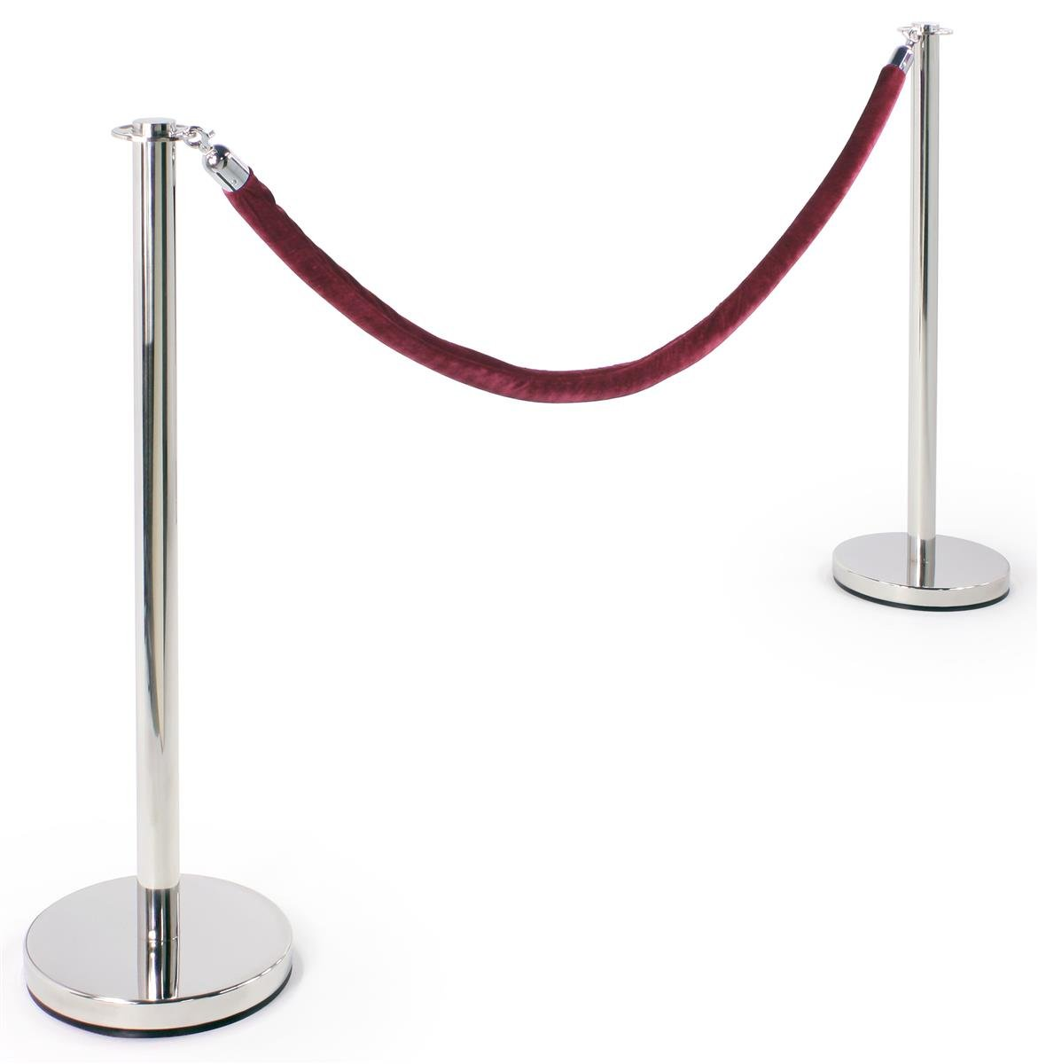 Stanchion Set - (2) 39''h Polished Chrome Stanchion Posts with a 78'' Burgundy Velvet Rope w/ Polished Chrome Hooks - Crowd Control Stanchions