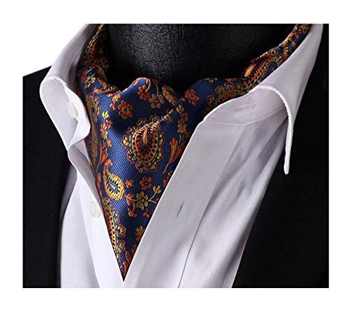 - Elfeves Men's Blue Orange Floral 100% Silk Cravat Ties Jacquard Woven Ascot