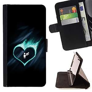 BullDog Case - FOR/Sony Xperia M2 / - / cute fire heart angel wing broken /- Monedero de cuero de la PU Llevar cubierta de la caja con el ID Credit Card Slots Flip funda de cuer