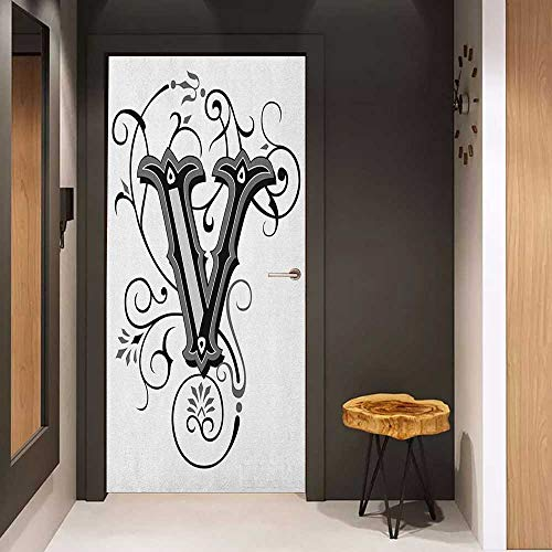 Door Sticker Letter V Gothic Halloween Style Uppercase V with Curved Lines Ivy Stripes Calligraphy Glass Film for Home Office W23 x H70 Black Grey White]()