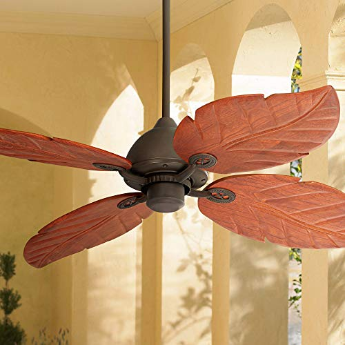 60 Oak Creek Tropical Outdoor Ceiling Fan Oil Rubbed Bronze Walnut Wood Leaves Damp Rated for Patio Porch – Casa Vieja