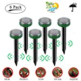 STONE Solar Mole Repellent 6 Pack, Mosquito Repeller Waterproof Ultrasonic Repelling Mole, Mice, Vole, Shrew, Rodents for Outdoor Yard Lawn Garden