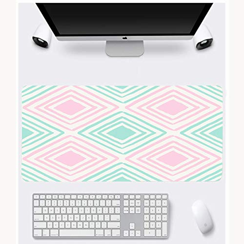 JAMRON Mousepad Oblong 11.8x35.4 Inches Trend Brush Hand Drawn Pattern Abstract Pink Tile Color Cool Creative Graphics Greeting Design Paint Non-Slip Rubber Mouse Pad Laptop Notebook