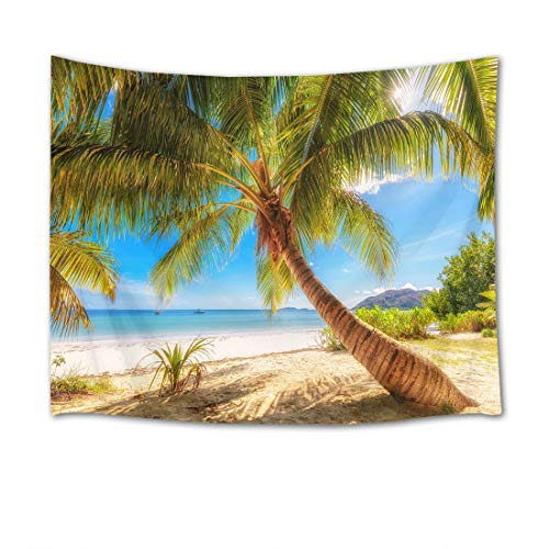 HVEST Ocean Tapestry Green Palm Trees on Tropical Beach Wall Hanging Summer Vacation Tapestries for Bedroom Living Room Dorm Party Decor,60Wx40H inches