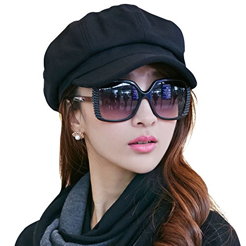 - SIGGI Ladies Merino Wool Visor Beret Newsboy Cabbie Cap Winter Hats Cotton Lined Black