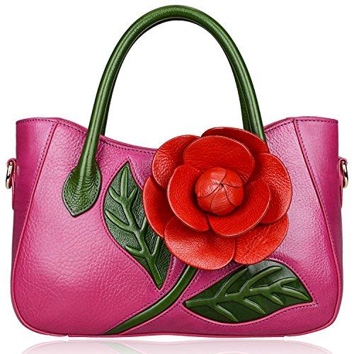 PIJUSHI Top Handle Satchel Handbag For Women Floral Purses Genuine Leather Shoulder Bag (8858, Purple)