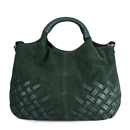 - Nico Louise Women Weave Suede Genuine Leather Handbag Female Leisure Casual Lady Crossbody Shoulder Bag Messenger Top-handle Bags (Green Big)