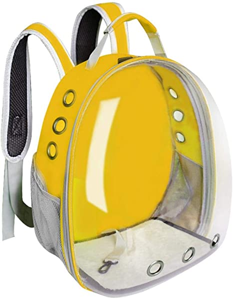 Linwei Cat Carrier Bag Breathable Transparent Puppy Cat Backpack Cats Box Cage Small Dog Pet Travel Carrier Handbag,Yellow,M: Amazon.es: Hogar