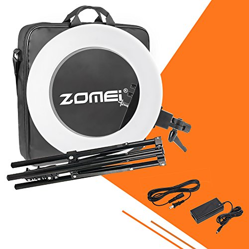 18 inch ZOMEI Camera Photo Video Lighting Kit: 48 centimeters Outer 55W 5500K Dimmable LED Ring Light, Light Stand, Phone Holder for Smartphone, Youtube, Vine Self-Portrait Video Shooting