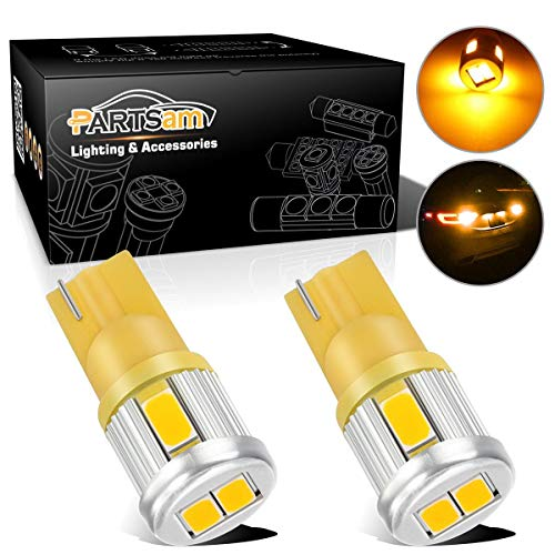Partsam 2X T10 W5W 194 2825 Amber LED Light Bulbs 6-5730-SMD Car Truck Parking LED Parking Light Bulbs Side Door Courtesy Light Stepwell Light