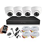 SEGUARD Surveillance Cameras system dvr kit security camera system 4 CH H.264 FULL D1 DVR with 4 Dome In Door...