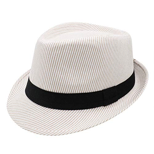PanPacSight Unisex Cotton Pinstripe Stingy Short Brim Fedora Hat Gangster Cuban Style Cap Spring Summer - Pinstripe Cap Cotton