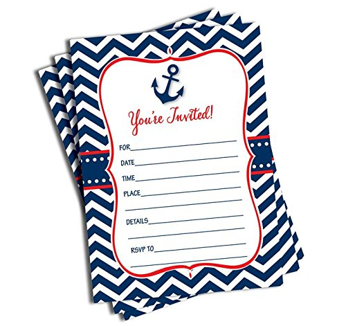 50 Nautical Invitations and Envelopes - Red & Navy (Large Size 5x7)