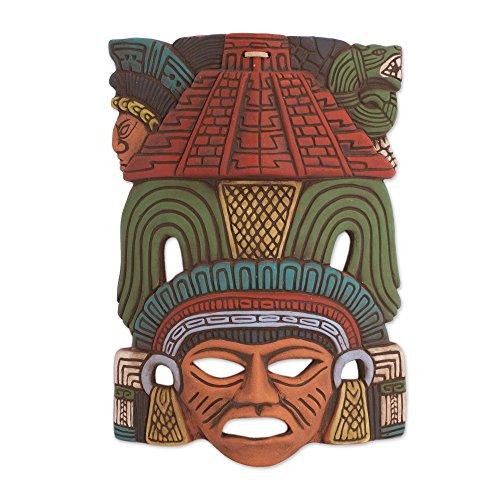 NOVICA Decorative Ceramic Cultural Mask, 'Mayan Pyramid'