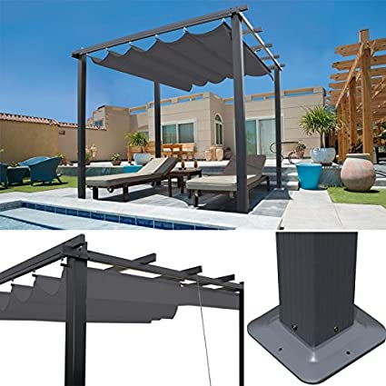 idmarket – Pergola tejado retráctil gris 3 x 3 m Cenador 4 patas