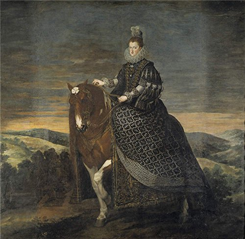 The Polyster Canvas Of Oil Painting 'Velazquez Diego Rodriguez De Silva Y (and Other) La Reina Margarita De Austria A Caballo 1628 35 ' ,size: 12 X 12 Inch / 30 X 31 Cm ,this Art Decorative Canvas Prints Is Fit For Game Room Decoration And Home Gallery Art And Gifts