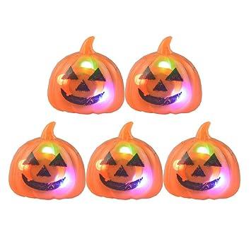 Amosfun 5pcs LED Anello di barretta Luminosa Zucca di Halloween
