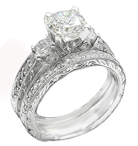 DS8 TOP GRADE PAVE 3-STONES SIMULATED DIAMOND RING SET SCROLL PATTERN 925 SILVER - Pave Scroll