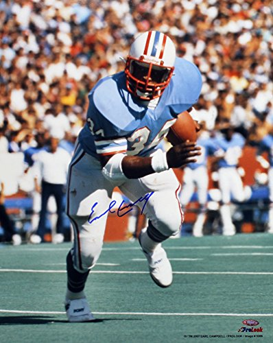 Campbell Autographed Photo - Earl Campbell Signed Autographed Houston Oilers 16x20 Photo Blue Jersey TRISTAR COA