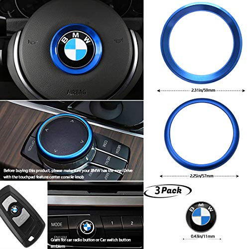 3Piece for BMW Center Console iDrive Multimedia Controller Knob Aluminum Ring,Steering Wheel Center Metal Alloy,BMW Car Radio Button Emblem(Blue)