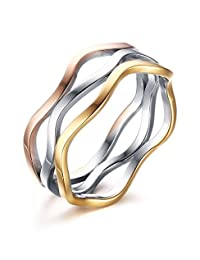Stainless Steel Multi Color Band Wave Hollow Design Women's Jewelry Fashion Rings