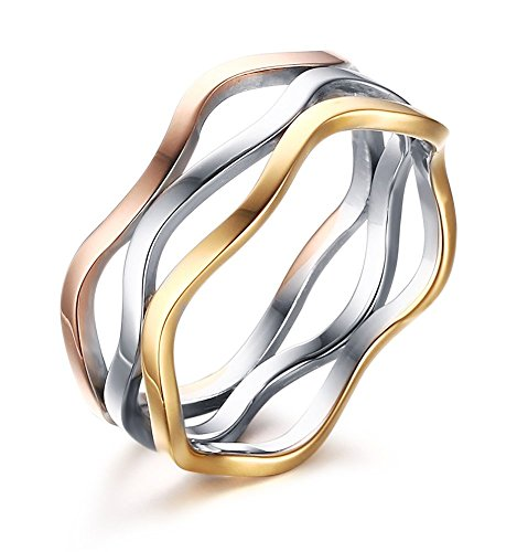 VNOX Womens Girls Stainless Steel Tri-Color Wave Band Ring for Wedding Promise Engagement,Size 9 ()