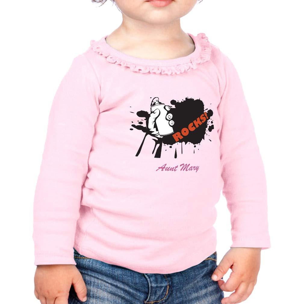 Personalized Custom Rocks Aunt Cotton Toddler Long Sleeve Ruffle Shirt Top