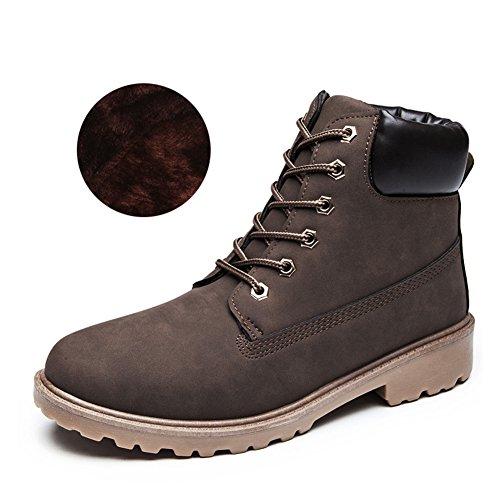 Damenschuhe Combat Boots - hibote Worker Boots Stiefeletten Stiefel Cowboy Stiefel Warm Gefütterte Stiefeletten Gr.36-41 Braun (mit gefüttert)