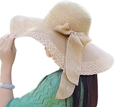 Messar Women s Summer Folable Floppy Straw Hat Big Bowknot Wide Brim Beach  Sun Hat 6cd5af7b5d1a