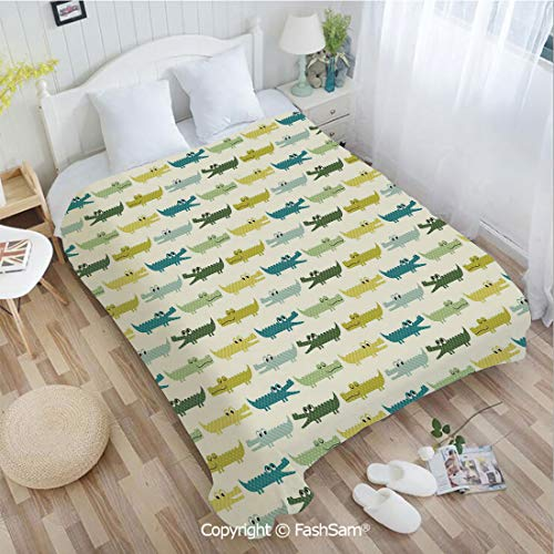 PUTIEN 3D Print Flannel Blanket Crocodile Characters in Cartoon Style Funny Faces Animal Alligators Childish Decorative Perfect for Couch Sofa or -