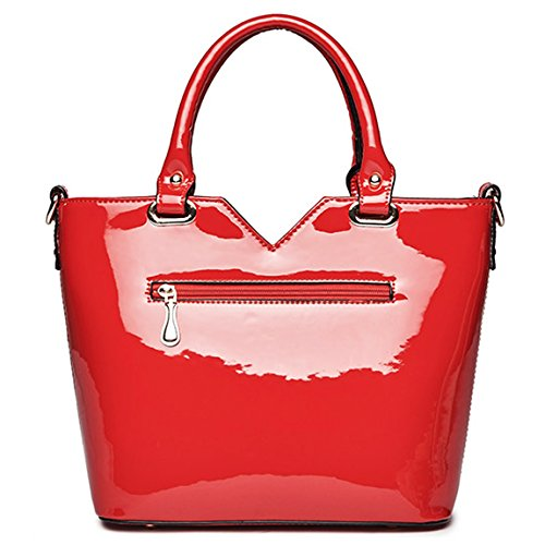 Red Patent Top Ladies Leather Designer handle Embroidery Bag KAXIDY Tote Handbags SwUZ7qvxx