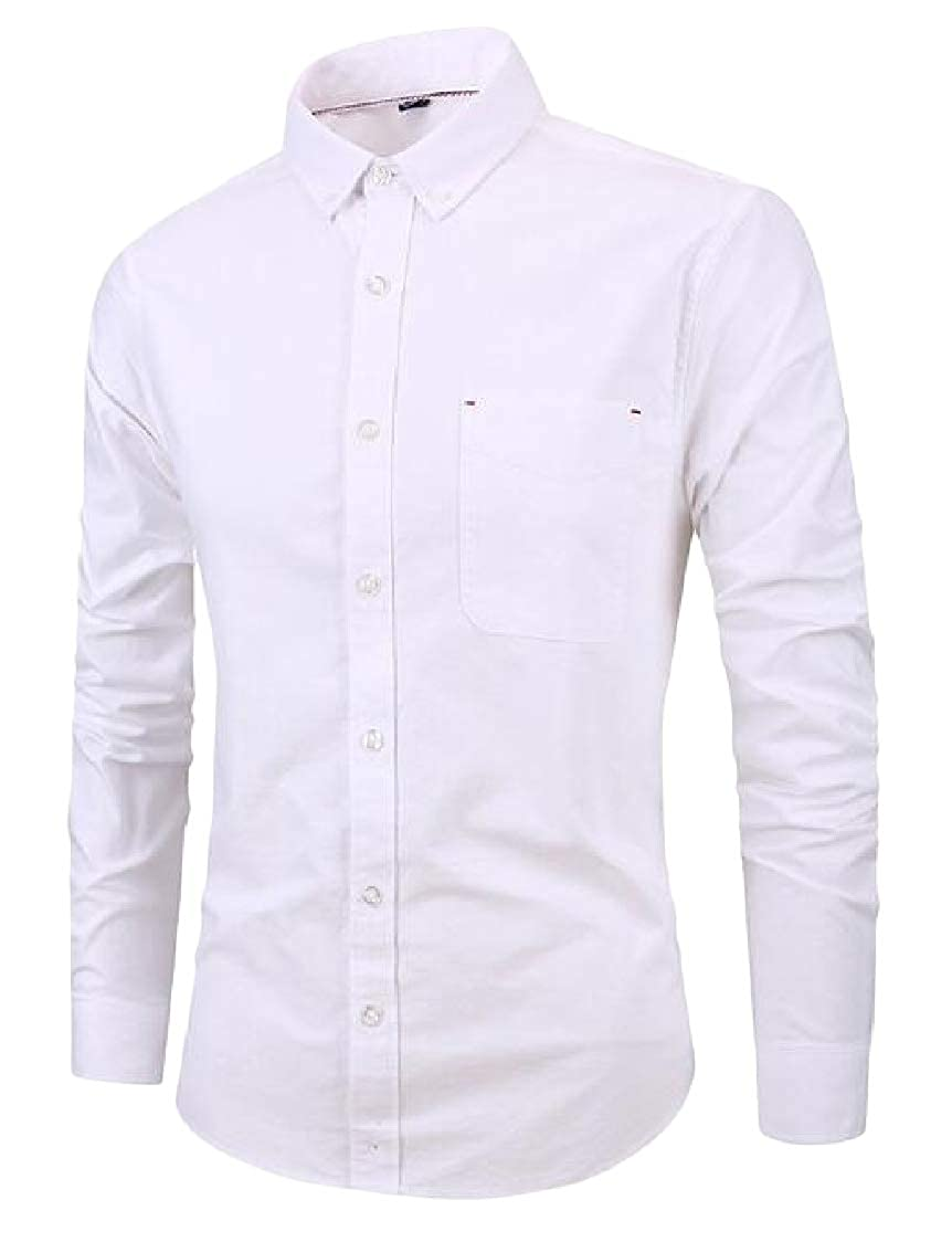 pipigo Mens Slim Solid Color Button Front Long Sleeve Oxford Dress Shirt